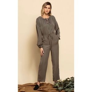 LUCCA Leia Long Sleeve Drawstring Jumpsuit - Moss